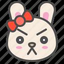 animal, avatar, bow, bunny, emoji, rabbit, serious