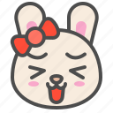 animal, avatar, bow, bunny, emoji, happy, rabbit