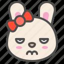 angry, animal, avatar, bow, bunny, emoji, rabbit icon