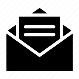 envelope, letter, open, paper, read icon