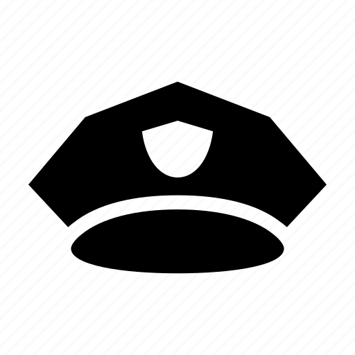 badge, hat, police, security, uniform icon