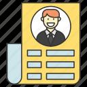 business, curriculum vitae, cv, finance, work icon