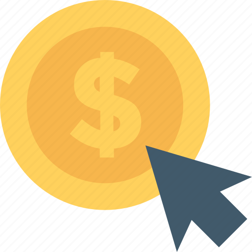 cursor, dollar, online business, pay per click, ppc icon