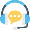 customer service, headphones, telemarketing, earphones, chat bubble icon