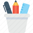 geometry, pencil box, pencil case, pencil pot, stationery icon