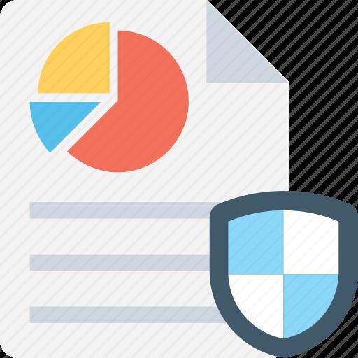 confidential, file protection, graph report, report, shield icon