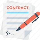agreement, contract, pact, pen, signature icon