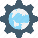 map setting, globe, internet setting, cog, world map icon