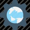 cog, globe, internet setting, map setting, world map