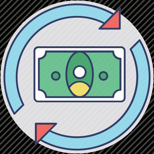 cash flow, money flow, money transfer, revenue, stock in trade icon
