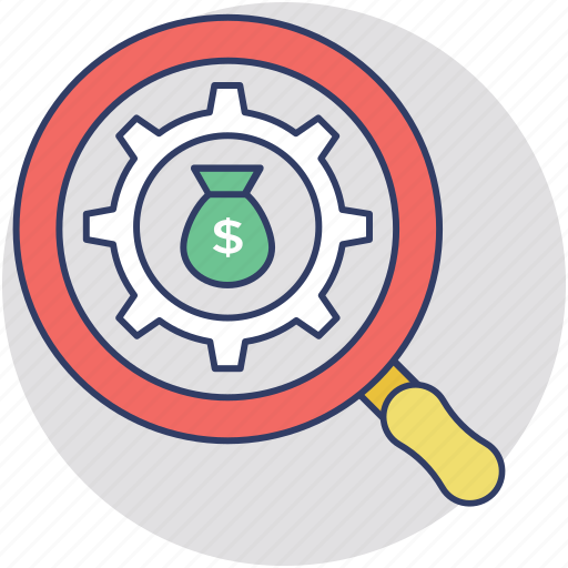 business monitoring, financial audit, making money, money audit, search for investment icon
