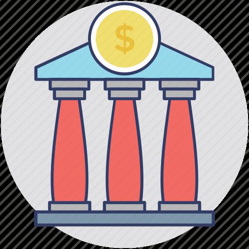 bank, bank building, bank exterior, finance, money icon