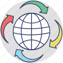 around the world, global communication, globalization, information technology, online communication icon