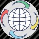 around the world, global communication, globalization, information technology, online communication icon