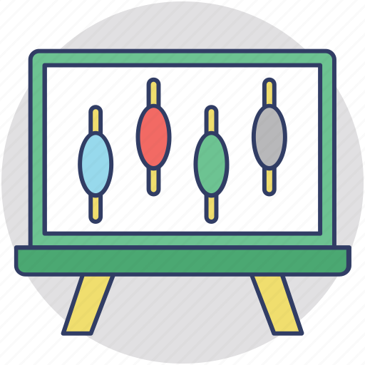 business analytics, chart, easel board, graph presentation icon