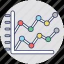 comparing statistics, comparison graph, competitive graph, competitor analysis, market segmentation icon