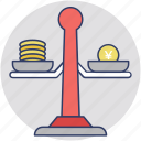 budget balance, budget scale, business plan, financial planning, money balance icon