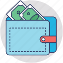 banknote, billfold, cash, purse, wallet