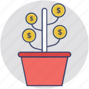assets, dollar plant, finance, investment, money icon