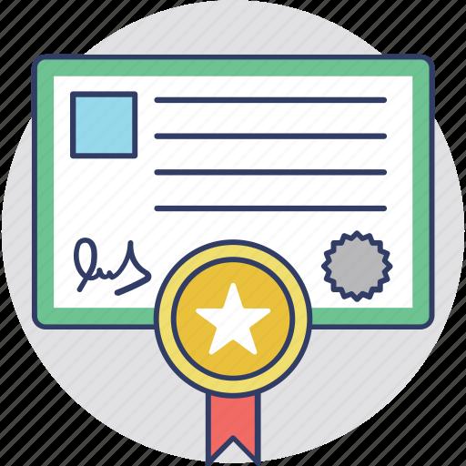 achievement, certificate, deed, diploma, success icon