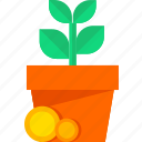 analytics, business, chart, growth, money, plant, statistics icon