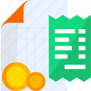 bill, business, cash, invoice, money, payment, receipt icon