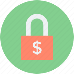 baking, dollar sign, money protection, money safety, padlock icon