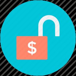 open lock, padlock, unblocked, unlock, unsecure icon