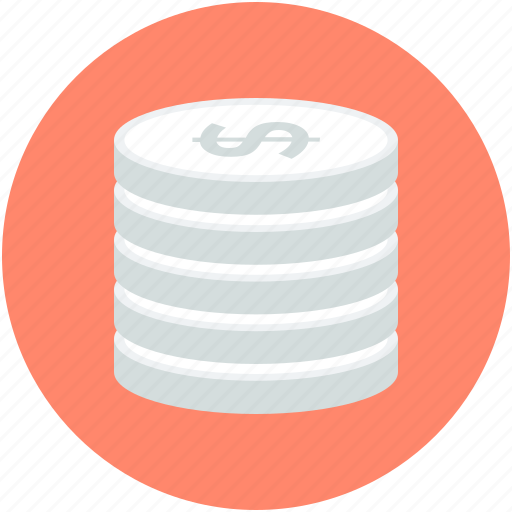 cash, coins stack, currency coins, dollar coins, money icon