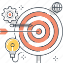 arrow, bulls eye, center, gear, hit, mark, target icon