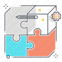 box, business, fit, jigsaw, market, puzzle, solving icon