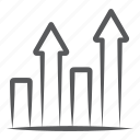 advancement, growth, profit, promotion, upward arrows icon