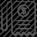 bill, business paper, financial file, invoice, voucher