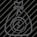 dollar bag, dollar sack, finance, money bag, money sack icon