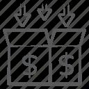 cardboard, cash box, ecommerce, money box, money package