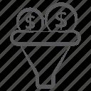 capital filtration, finance funnel, money conversion, money filtration, money funnel