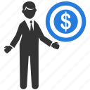 business, businessman, cash, dollar, finance, financial, money talk icon