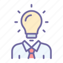 bulb, light, idea, man, business, creative