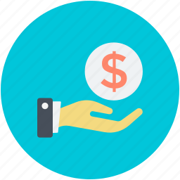 dollar in hand, give money, hand gesture, income, safe investment icon