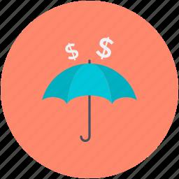 insurance, money protection, money safety, safe banking, umbrella icon