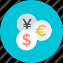 currency, dollar, euro, finance, yen