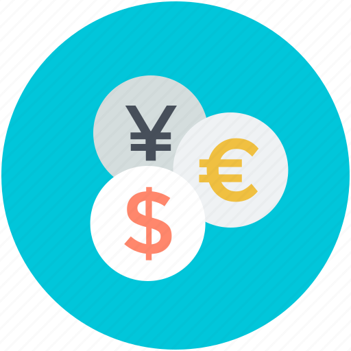 currency, dollar, euro, finance, yen icon