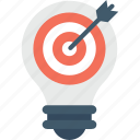 bulb, creativity, idea, marketing, target icon