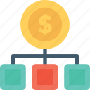 dollar, economy, financial, hierarchy, project icon