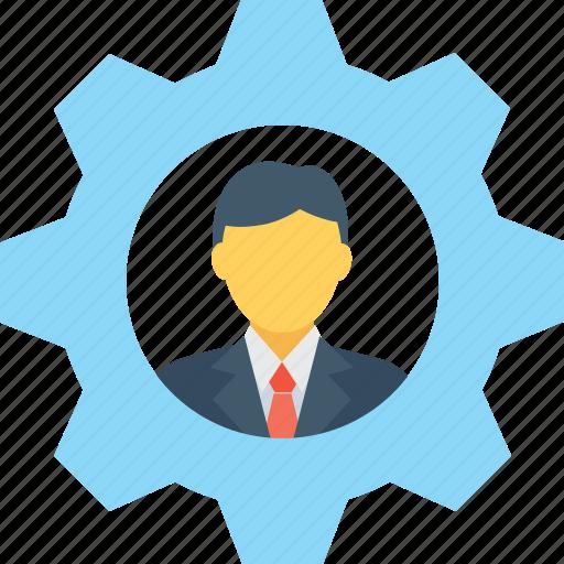 cog, leader, man, management, team head icon