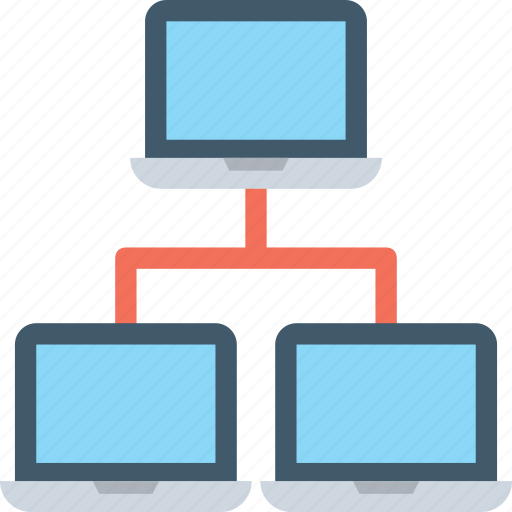 client server, laptops, network sharing, networking, topology icon