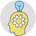 brain idea, critical thinking, knowledge management, problem solving, solution talk icon