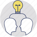 brainstorming, collaboration, creative team, idea sharing, mind bulb icon
