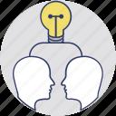 idea sharing, collaboration, creative team, mind bulb, brainstorming icon