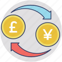 investment concept, currency interlocking, currency exchange, money exchange, money gears icon